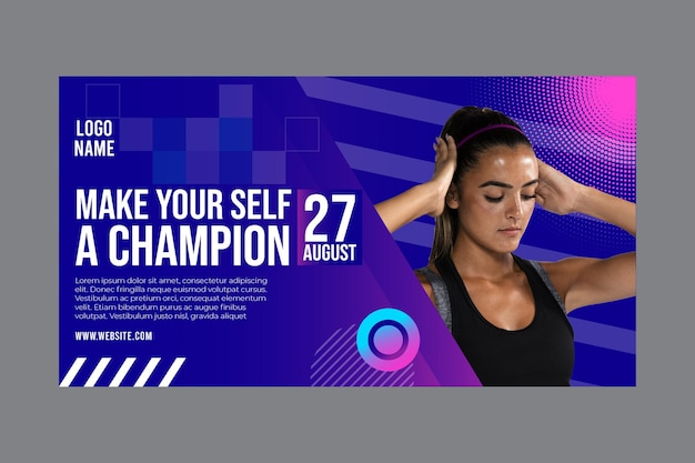 Banner template for fitness and sports