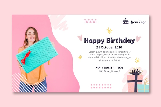 Шаблон баннера для празднования дня рождения