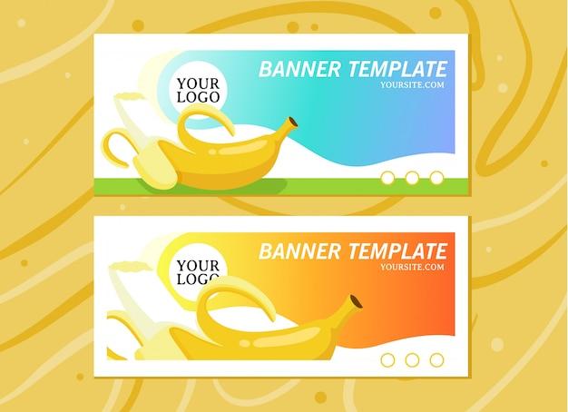 Banner template for fruitshop website on wood background