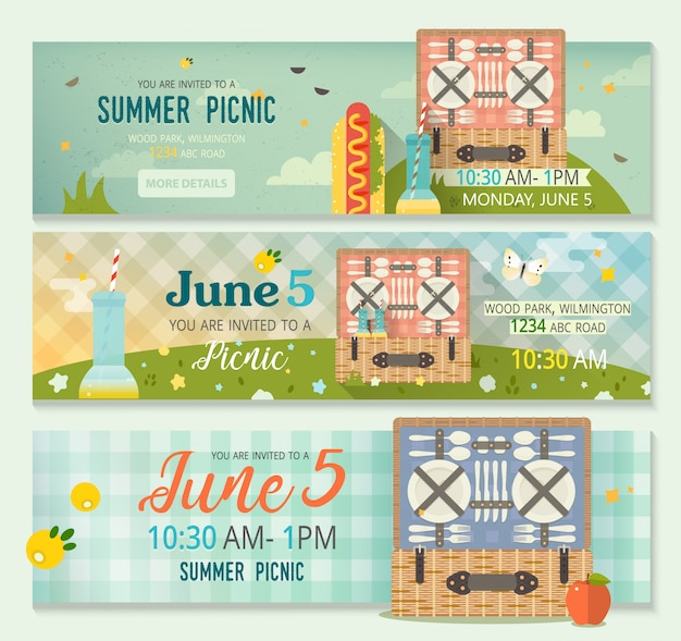 Banner template invitation picnic card with summer nature, picnic basket and tartan tablecloth