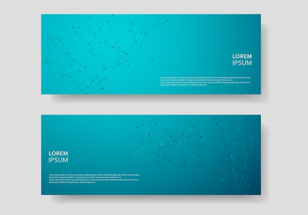 Banner template layout and cover  with polygonal triangles and connected lines and dots
