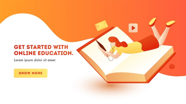 Banner template page design with young girl learning online education from tablet with book