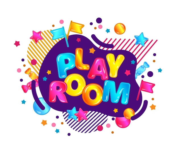 Banner template play room in bright cartoon style with neon bubble and stars