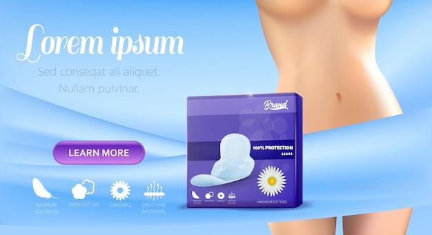 Banner template for promoting female hygienic pads