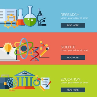 Banner template set for online education, video tutorials, staff training, learning, knowledge, back to school, learn to think.