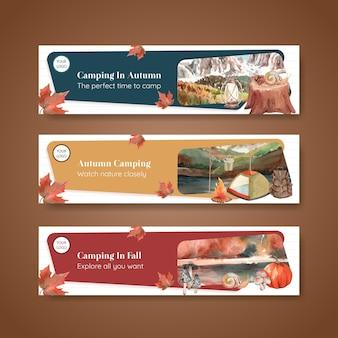 가을 캠핑 컨셉으로 설정된 배너 템플릿, 수채화 스타일