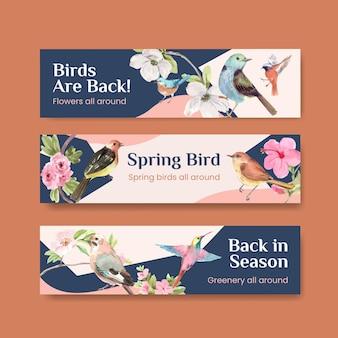 鳥と春のコンセプトで設定されたバナーテンプレート