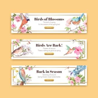 Шаблон баннера с птицами и весенней концепцией
