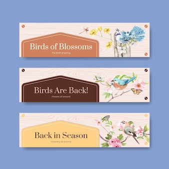 Banner template set with birds and spring concept