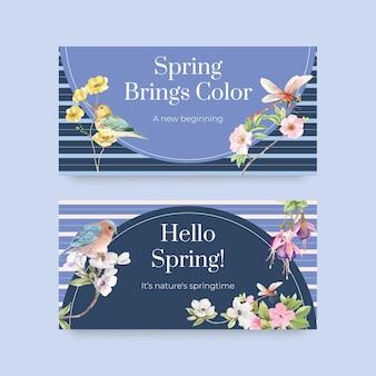 Modello di banner impostato con uccelli e concetto di primavera
