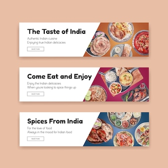 Modello di banner impostato con cibo indiano