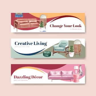 Banner template set with luxury furniture in watercolor style