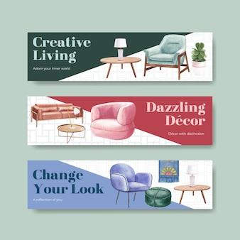 Modello di banner impostato con mobili di lusso in stile acquerello