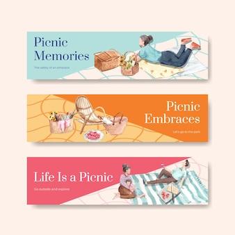 ピクニック旅行のコンセプトで設定されたバナーテンプレート