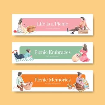 Шаблон баннера с концепцией путешествия для пикника