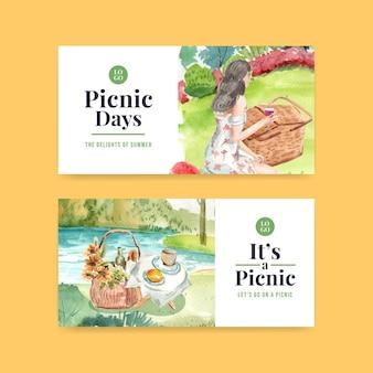 Modello di banner impostato con il concetto di viaggio picnic