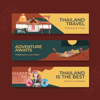 Banner template set with thailand travel for advertise in watercolor style
