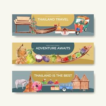 Modello di banner impostato con viaggi in thailandia per fare pubblicità in stile acquerello