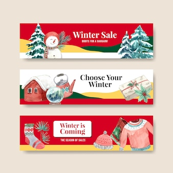 Banner template set with winter sale for advertise in watercolor style