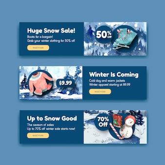 Шаблон баннера с зимней распродажей для рекламы в стиле акварели