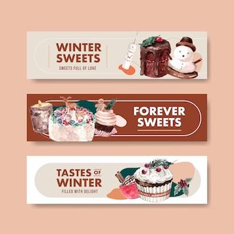 수채화 스타일에서 겨울 과자 세트 배너 서식 파일
