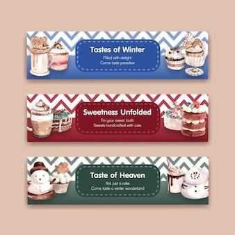 Шаблон баннера с зимними сладостями в стиле акварели
