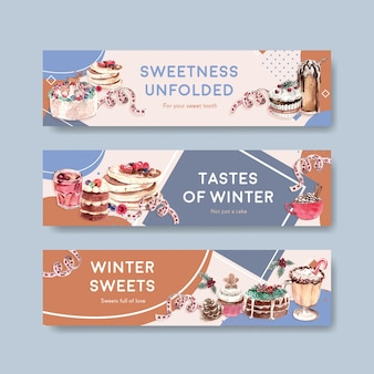 Modello di banner impostato con dolci invernali in stile acquerello