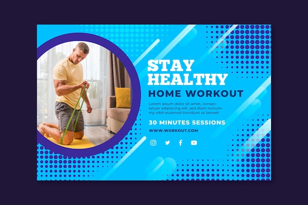 Banner template for sport at home with male athlete