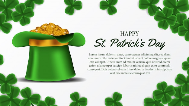 Banner template of st. patrick day with hat and gold coin