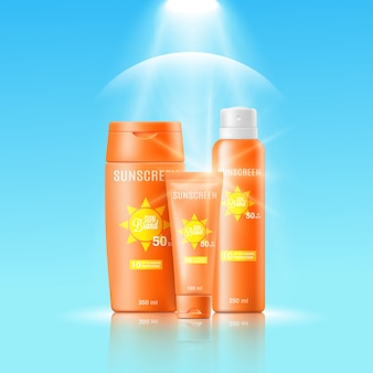 banner template for sun protective cosmetic realistic