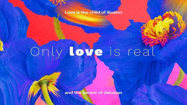 Баннер шаблон вектор, эстетический цветок с романтической цитатой