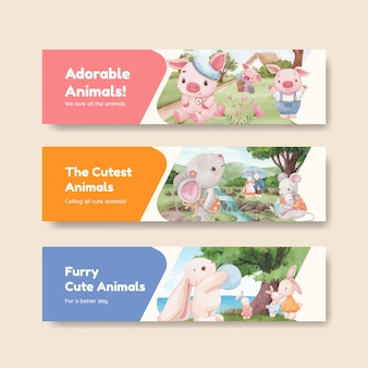 愛らしい動物のコンセプト、水彩スタイルのバナーテンプレート