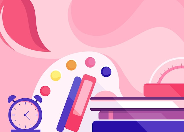 Banner template with alarm clock and books. school concept art.