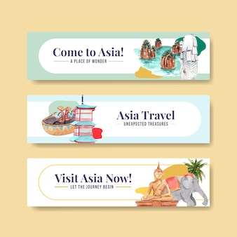 Banner template with asia travel concept design for advertise and marketing watercolor vector illustration