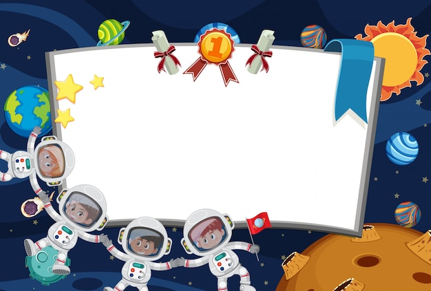 Banner template with astronauts flying in the space