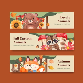 Banner template with autumn animal in watercolor style