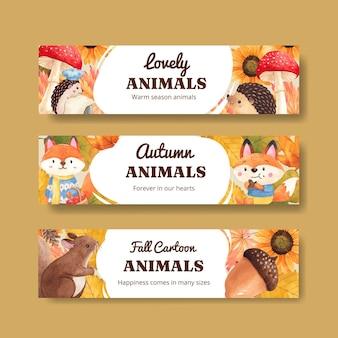 Modello di banner con animale autunnale in stile acquerello