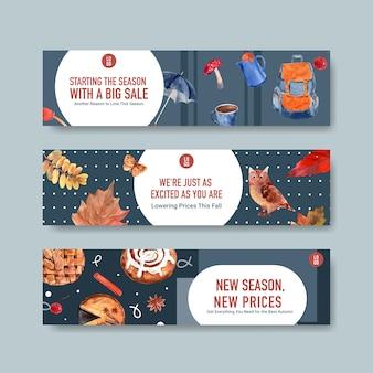 Шаблон баннера с осенним ежедневным концептуальным дизайном для маркетинга и продвижения акварели
