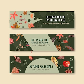 Banner template with autumn daily concept design for marketing and promotion watercolor