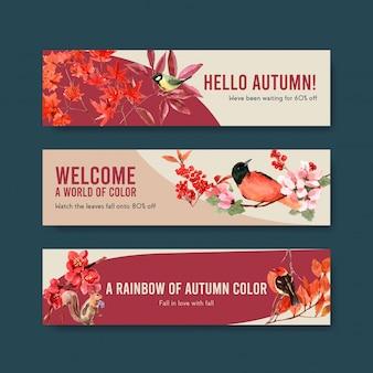 秋の森と動物のバナーテンプレート