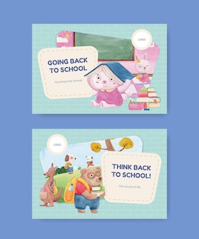 Modello di banner con concetto di ritorno a scuola e simpatici animali, stile acquerello
