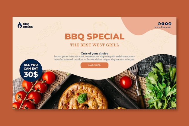 Banner template with barbeque photo