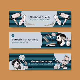 Banner template with barber concept design for advertise.