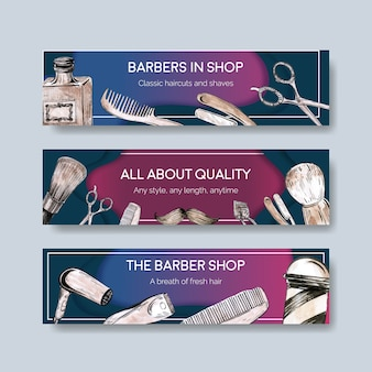 Шаблон баннера с концептуальным дизайном парикмахера для рекламы.