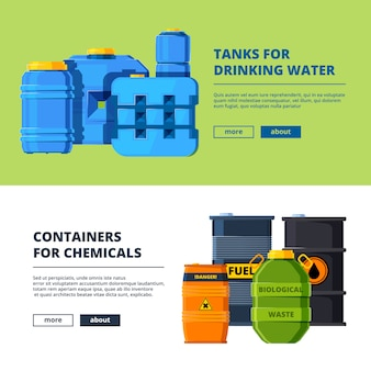Banner template with barrels. different water and oil tanks