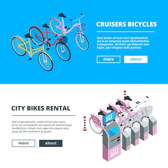 Banner template with bikes. pictures of isometric bicycles