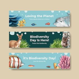 Modello di banner con biodiversità come specie di fauna selvatica naturale o protezione della fauna