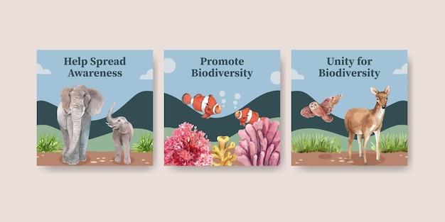 自然の野生生物種または動物保護としての生物多様性を備えたバナーテンプレート