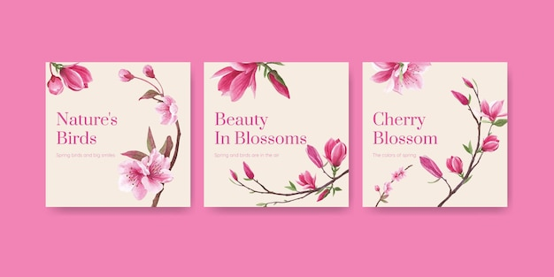 Banner template with blossom bird concept design watercolor illustration