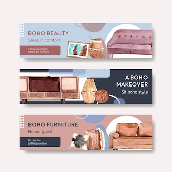 Banner template with boho furniture concept design for advertise and marketing watercolor illustration